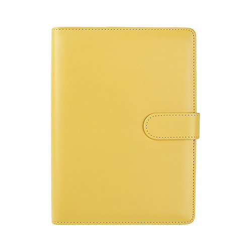 Jia HU A5Cuero rellenables Notebook Cover Replace de anillas con bolígrafo Loop, bolsillo interior, Amarillo