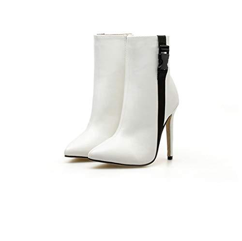 Sandalette-DEDE Zapatos para Mujer/Botas Botas Americanas, Botas Grandes, Cabezas Puntiagudas, Tacones Altos y Botas Cortas. white