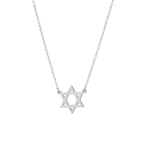 925 Sterling Silver Star Pendant - Deidreamers 925 Sterling Silver STAR OF DAVID Pendant Necklace (Silver (Small))
