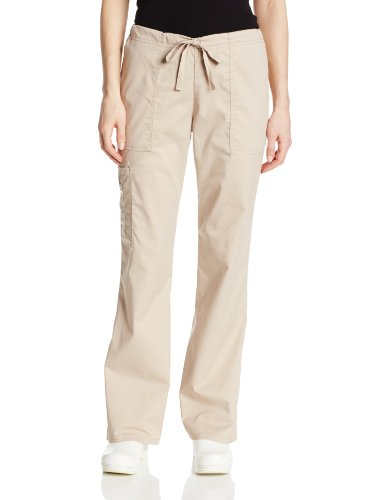 Cherokee Women's Workwear Core Stretch Drawstring Cargo Scrubs Pant, Khaki, Large