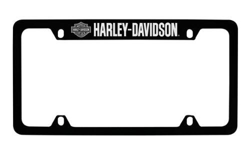 Harley Davidson Silver & Black Bar & Shield Logo on left Car Truck SUV License Plate Frame Black Metal - Harley Davidson Script on Top - Harley Davidson Metal License Plate