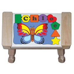 PersonalizedバタフライパズルStool B01H9WZC7M Primary Puzzle With Natural Stool Primary Puzzle With Natural Stool