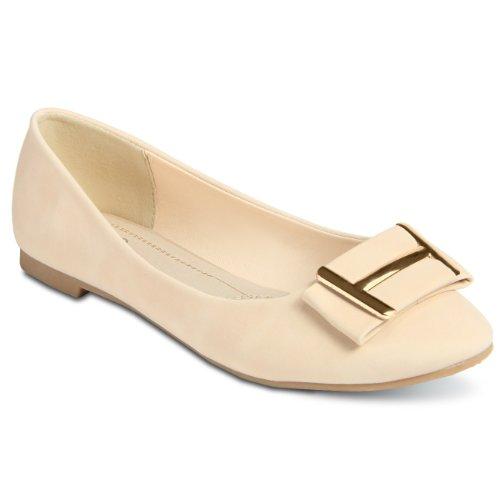 CASPAR Womens Shoes / Ballet Flats / Ballerinas in Elegant Design and Gold Element - many colours - SBA008 Beige