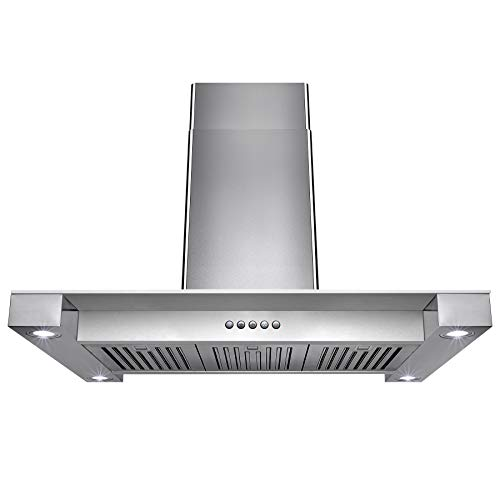 36″ Convertible Island Mount Range Hood with LED Lights in Stainless Steel with Tempered Glass