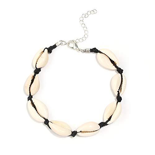 Artilady Anklet Bracelet for Women - Gold Ankles Layered Anklets Charm Boho Anklet Handmade Foot Jewelry (Shell Black) (Black Gold Anklet)