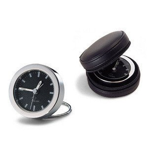 Creative leather case with small portable bedside Bell alarm clock clock,Golden by Clocks CC