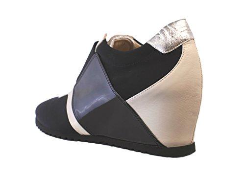 Passione di Gina LA-Chic Fashion Sneaker in Italian Leather and stretch microfiber, in Black & White. by Passione di Gina Made With Love In Italy (Image #1)