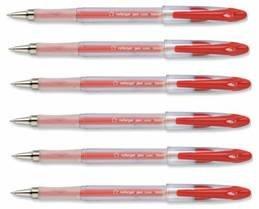 1 Mm Clear Barrel (24 x 5 Star Red Roller Gel Pen Clear Barrel 1.0mm Tip 0.5mm Line by 5 Star Branded)