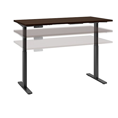 Move 60 Series 72W x 24D Height Adjustable Standing Desk in Mocha Cherry Satin with Black Base