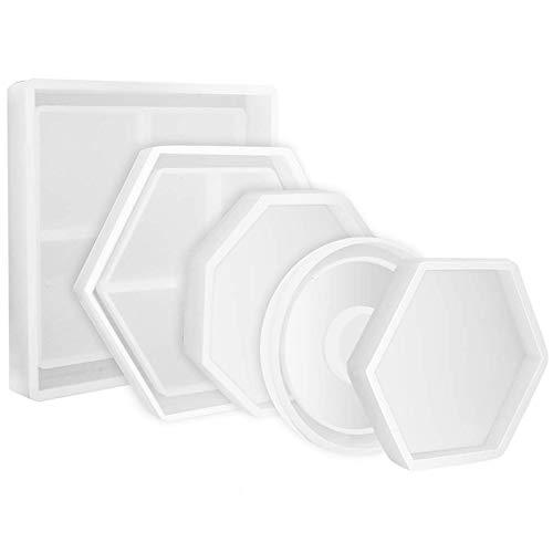 B/éton Ciment SODIAL 5 Pi/èces Moule de Silicone de Bricoleur Inclus Le Moule DOctogone de Cercle DHexagone Carr/é pour La R/ésine D/écoration de La Maison