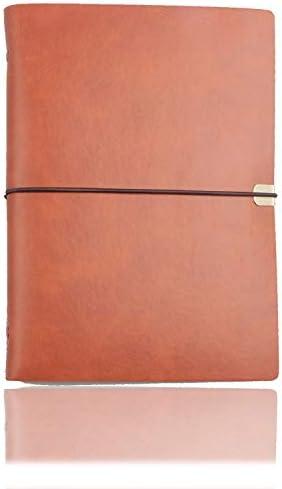 A5 Cuaderno de cuero Cuaderno de Cuero PU Cuaderno de Escritura Diario Papel Reemplazable, Cuero de PU Suave Fino + Carpeta de Metal + Papel de Calidad - 100 g/m2, 160 páginas (Marrón)