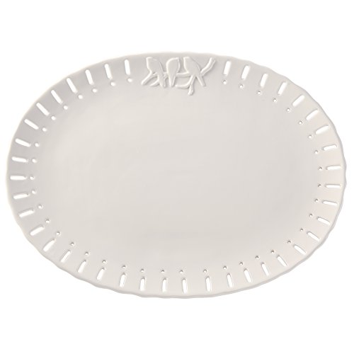 Mud Pie Ceramic Oval Serving Platter, White