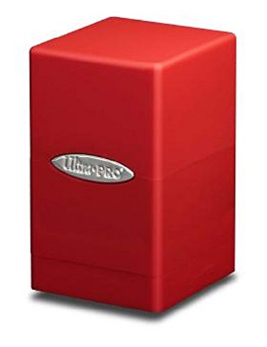 (1X ULTRA PRO RED Satin Tower Deck Box MTG MAGIC the Gathering POKEMON Holds 100 Cards)