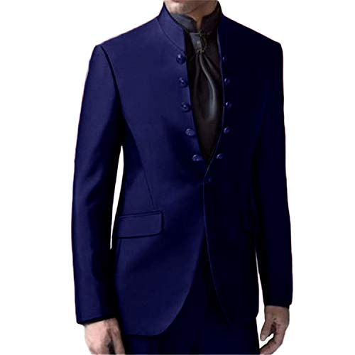 Setwell Latest Coat Pants Mandarin Collar Men Suits Formal Custom Tuxedo 2 Piece Navy Blue