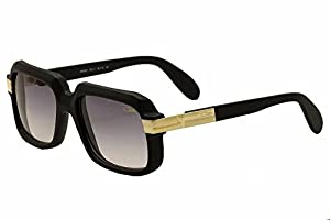 Cazal 607 Sunglasses 011 Matte Black Gold/Grey Gradient Lens 59MM