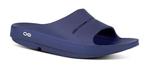 OOFOS Unisex Ooahh Slide Sandal,Navy,14 B(M) US Women / 12 D(M) US Men