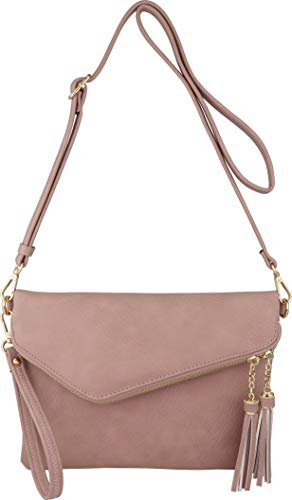 Fold-Over Envelope Wristlet Clutch Crossbody Bag with Tassel Accents (Blush)