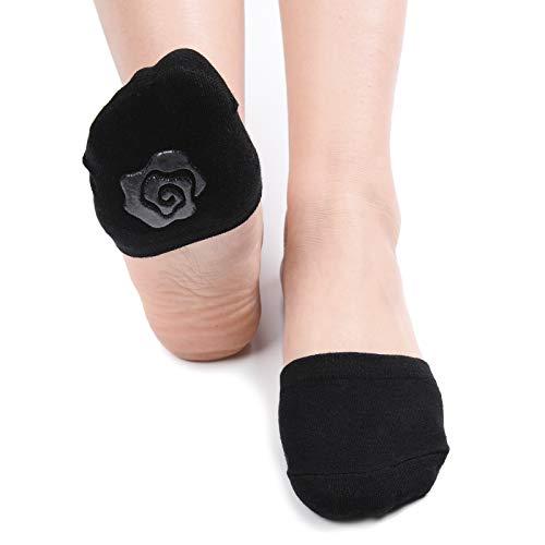 (Flammi Women's 6 Pairs Toe Toppers Liner Socks Half Socks with Non-Skid Bottom (Black))