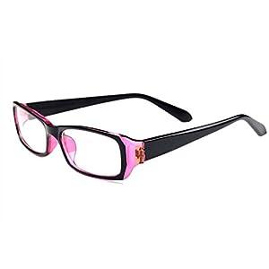 C.A.Z Unisex Retro Fashion Style Narrow Rectangular Frame Clear Lens Eyeglasses Computer Glasses Radiation Protection Anti Glare and Blue Ray (Black&Purple)