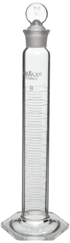 Kimax 20039-250 Glass Class B Single Metric Scale Graduated Mixing Cylinder, 250mL Capacity, 10 - 250mL Graduation Interval (Case of 8) by Kimax
