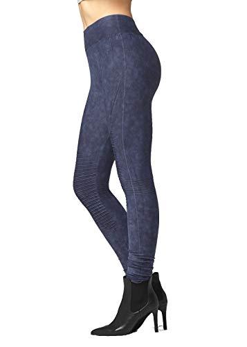 - Vintage High Waist Moto Leggings for Women - Acid Wash Indigo Blue - Small/Medium