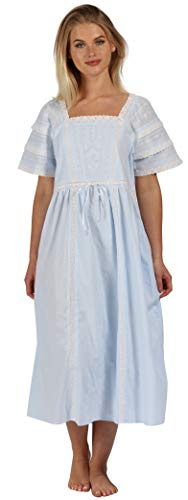 The 1 for U Nightgown 100% Cotton Women's Victorian Style Nightie Amanda (Large, Blue)