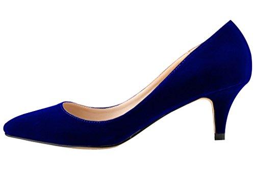 Toe Closed On Pointed Dress velveteen Low blue Slip Women's Heel Kitten Pumps 5Ef6qww