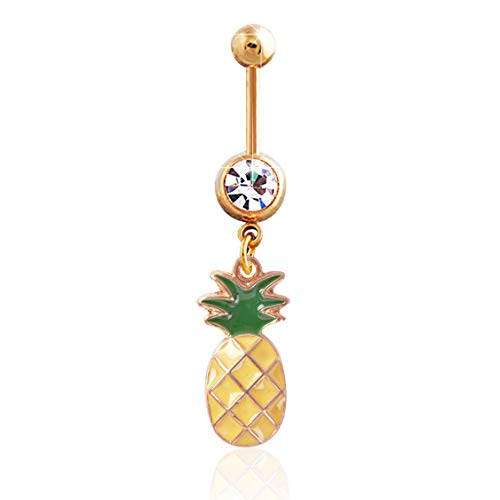 HUNO 316L Stainless Steel Fruit Pineapple Navel Rings Crystal Belly Button Rings Body Piercings Jewelry-Long