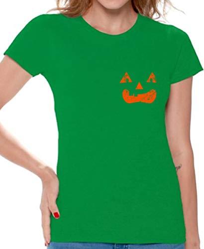 Awkward Styles Jack-O'-Lantern Shirt for Women Funny Halloween Costume T-Shirt Green 2XL -