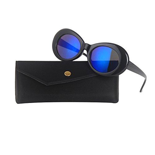 Clout Goggles Bold Retro Oval Mod Thick Frame Sunglasses Kurt Cobain Inspired Sunglasses Round Lens (Black / Blue - Black Lens