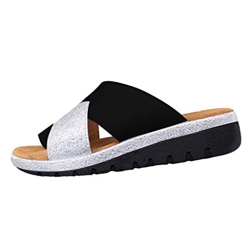 (Platform Sandals for Women Summer Wedge Sandal Comfy Peep Toe Slippers Fashion Beach Ladies Casual Shoes 2019 New (35, Black) )