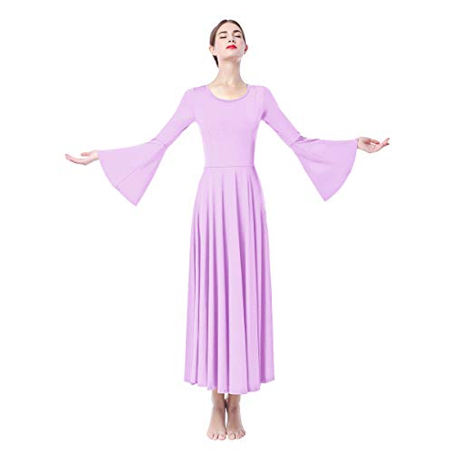 Women Adult Bell Long Sleeves Liturgical Praise Lyrical Dance Dress Solid Loose Fit Full Length Maxi Swing Gown Pleated Ruffle Tunic Circle Skirts Christian Worship Costume Praisewear Light Purple M