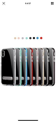 iPhone X Case Herringbone with Flexible Inner Protection and Reinforced Hard Bumper Frame +Magnetic Kickstand for Apple iPhone X (Clear)