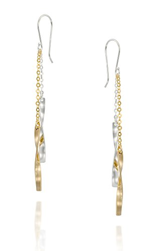 Women's Two Tone Twisted 925 Sterling Silver and 14k Gold-Filled Long Dangle Earrings