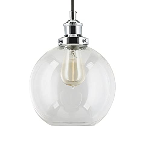 Linea di Liara Primo Industrial Factory Pendant Lamp - Polished Chrome One-Light Fixture with Glass Shade Fabric Wrapped Cord Exposed Hardware - 5-Inch Canopy - Downlight Modern Vintage LL-P429-PC