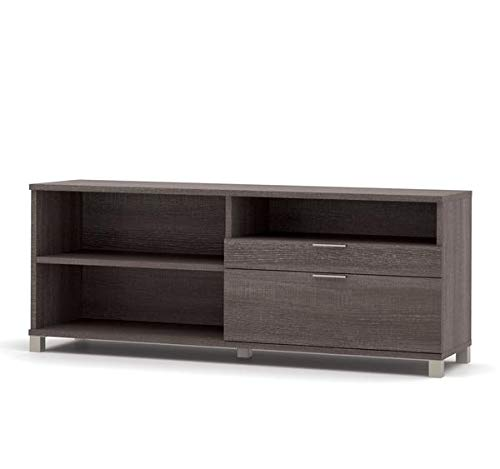 Modern Credenza in Bark Grey with File Drawer