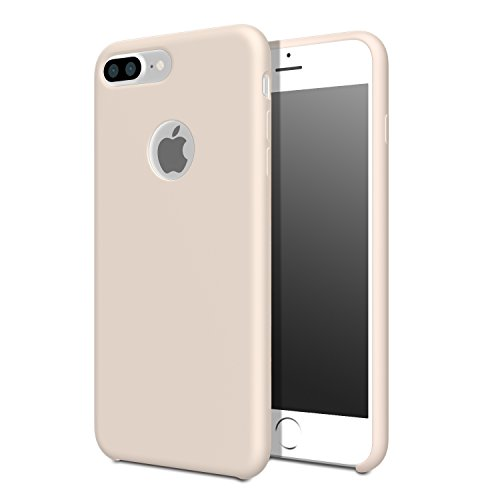for iPhone 7 Plus Case - MoKo Slim Shockproof Liquid Silicone Gel Rubber Protective Case Soft Touch Back Cover for Apple iPhone 7 Plus 2016, Pink Sand