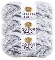 Pack of 3 Skeins Grey Wolf Lion Brand Yarn 322-201 Go for Faux Yarn