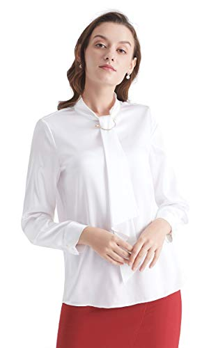 (LilySilk Silk Tie Blouse Long Sleeve Feminine Stand Collar Silk Blouses for Women 19 Momme White S/4-6)