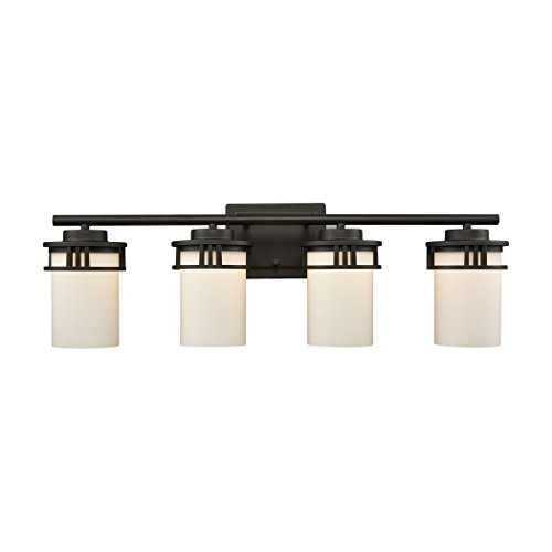 Elk Lighting CN578411 Ravendale 4-Light for The Bath in Oil Rubbed Bronze with Opal White Glass Vanity Wall Sconce ()