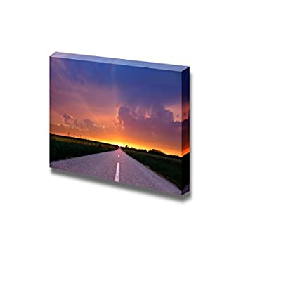 Canvas Prints Wall Art - Endless Driving on Country Road at Sunset | Modern Wall Decor/Home Decoration Stretched Gallery Canvas Wrap Giclee Print & Ready to Hang - 24