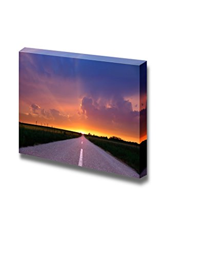 Endless Driving on Country Road at Sunset Wall Decor
