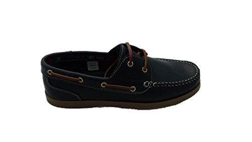 Zapatos Náuticos de Piel para Hombre, mod.1688, Made in Spain, Garantia de Calidad. Azul Marino