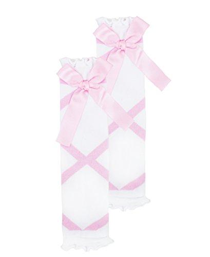 RuffleButts Little Girls Pink and White Ballet Bow