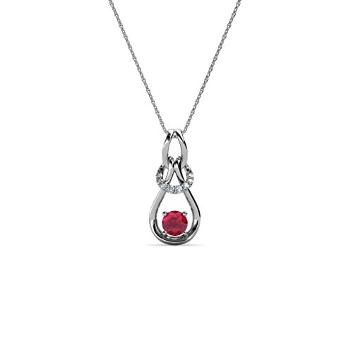 TriJewels Diamond & Ruby 0.19 ctw Womens Love Knot Slider Pendant 14K White Gold with 18 Inches Gold -
