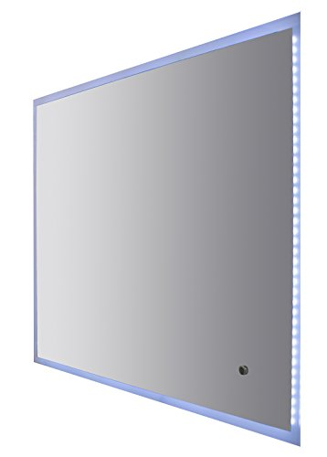 One Touch 40-inch LED Wall Frame-less Mirror, Bright White Light, Touch Switch Button, Sandblasting Edge, Wall Mounted, Made in Spain (European Brand) (40-inch) by Hispania bath