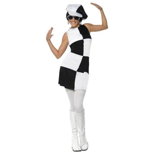 1960s Party Girl Adult Costume Black & White - Large -