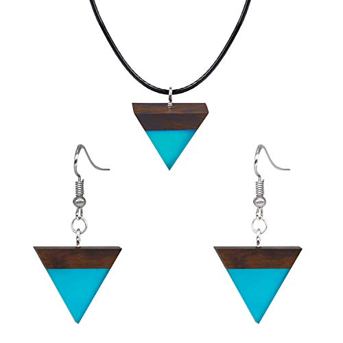 Careland Elegant Jewelry Set Resin Wood Pendant Necklace and Earrings for Women ()