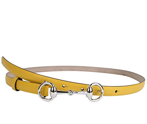 Gucci Women's Horsebit Buckle Yellow Leather Thin Skinny Belt 282349 7011 (80/32) (Buckle Horsebit Belt)