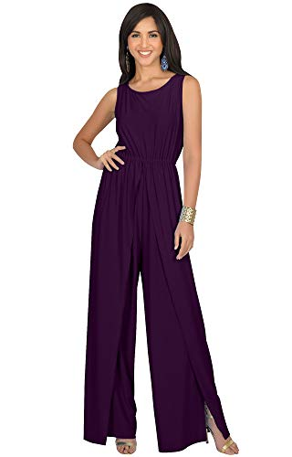 KOH KOH Petite Womens Sleeveless Cocktail Wide Leg Casual Cute Long Pants One Piece Jumpsuit Jumpsuits Pant Suit Suits Romper Rompers Playsuit Playsuits, Purple S 4-6